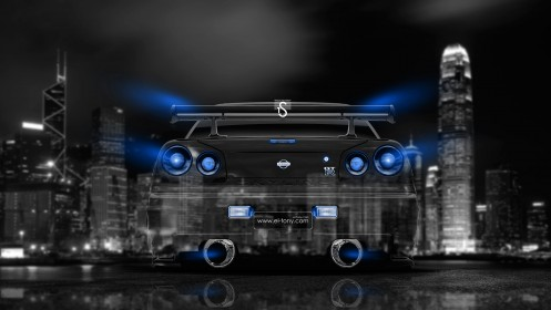Nissan-Skyline-GTR-R34-Back-JDM-Crystal-City-Car-2014-Blue-Neon-design-by-Tony-Kokhan-[www.el-tony.com]