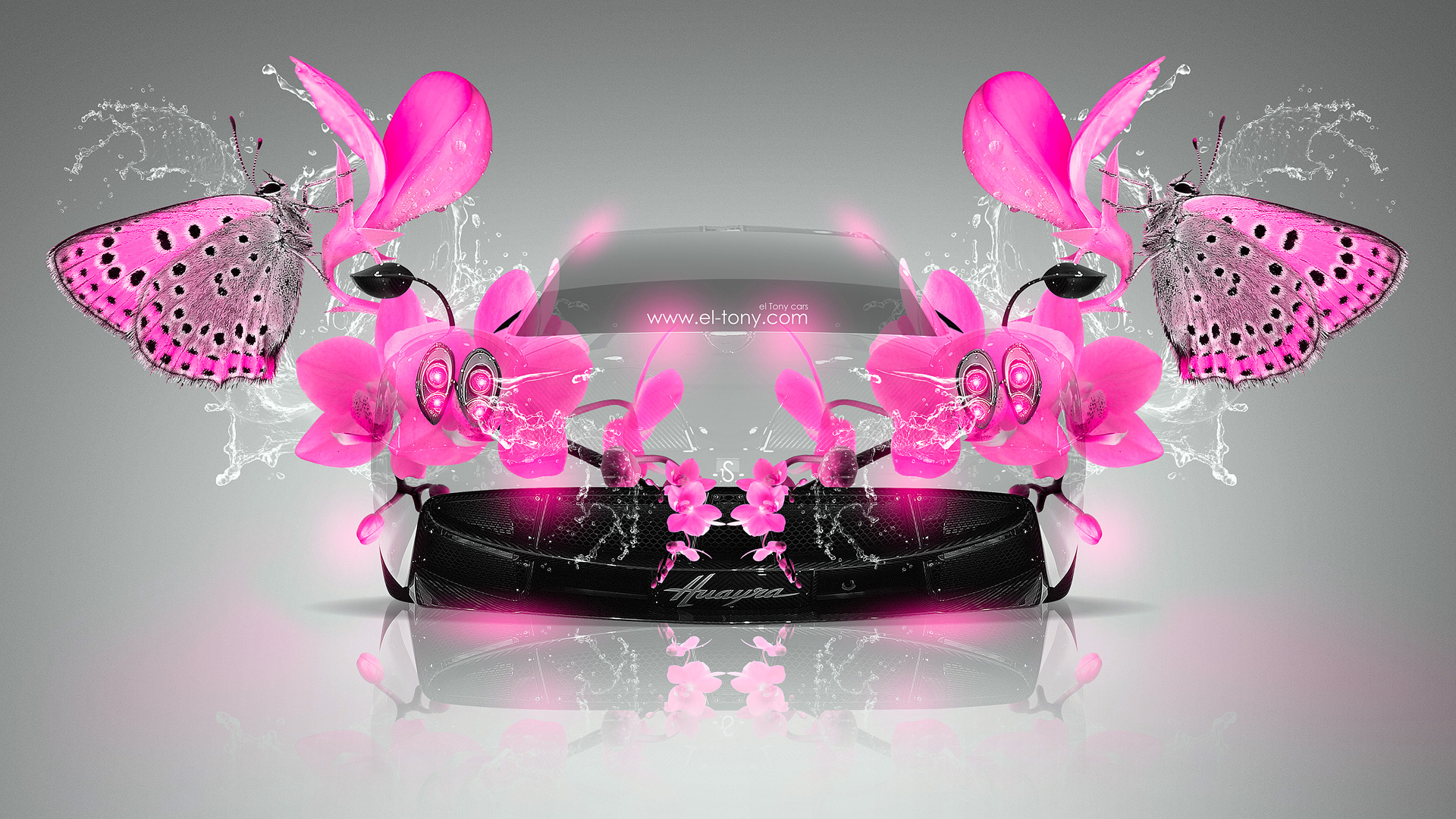 Pagani-Huayra-Fantasy-Pink-Neon-Butterfly-Flowers-Car-2014-design-by-Tony-Kokhan-[www.el-tony.com]