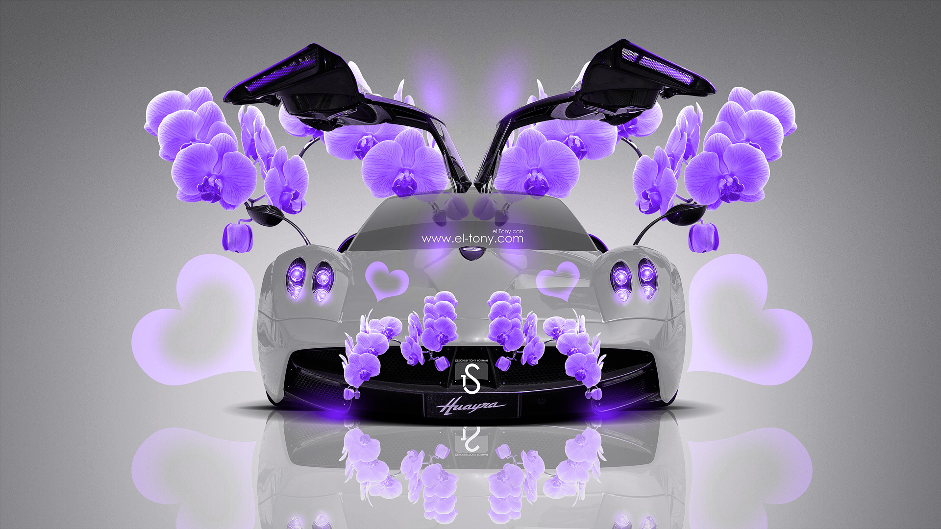 Attractive Pagani Huayra Violet Fantasy Flowers Car 2014 HD
