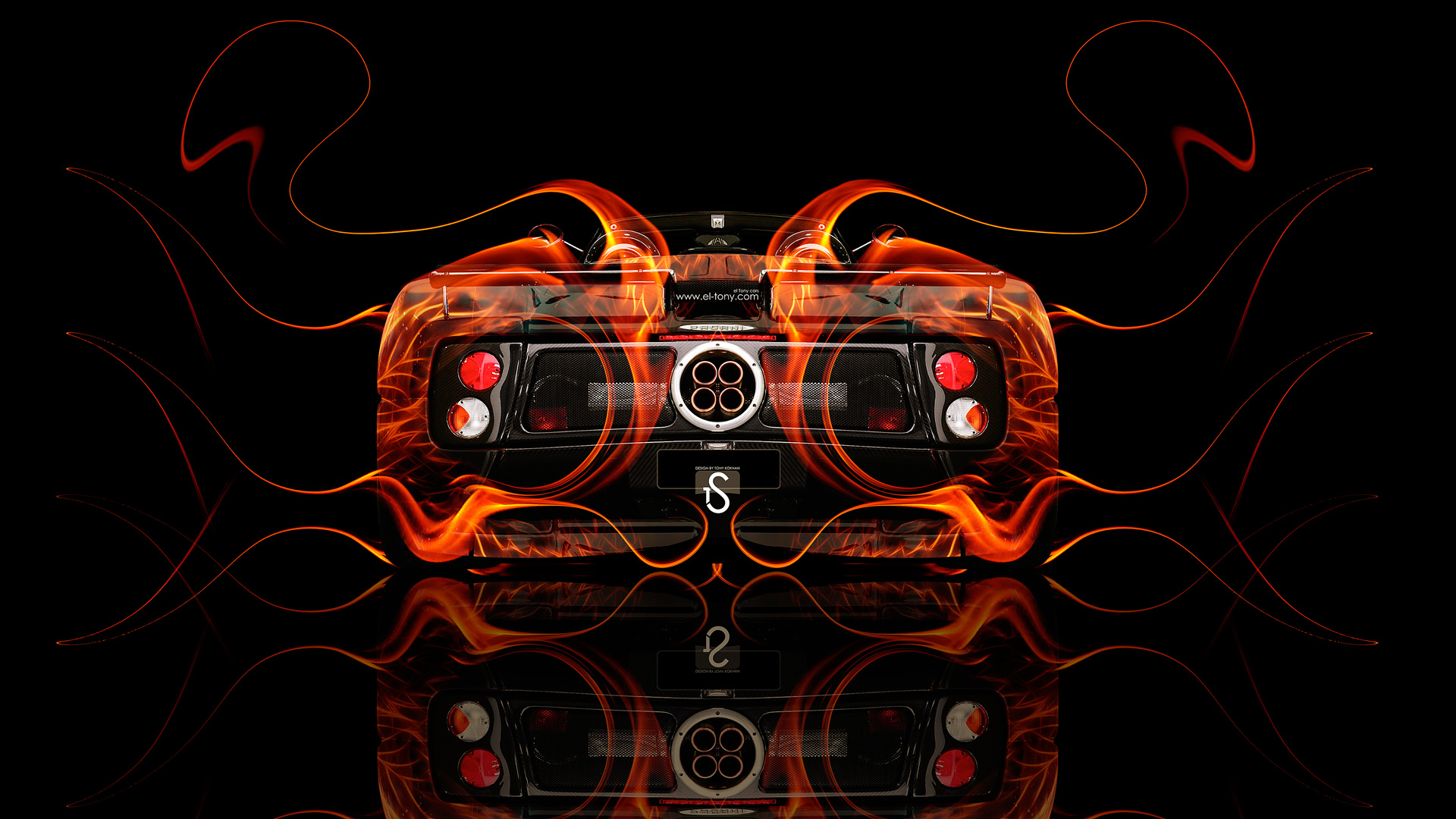 ... Pagani Zonda C12S Roadster Fire Abstract Car 2014  ...