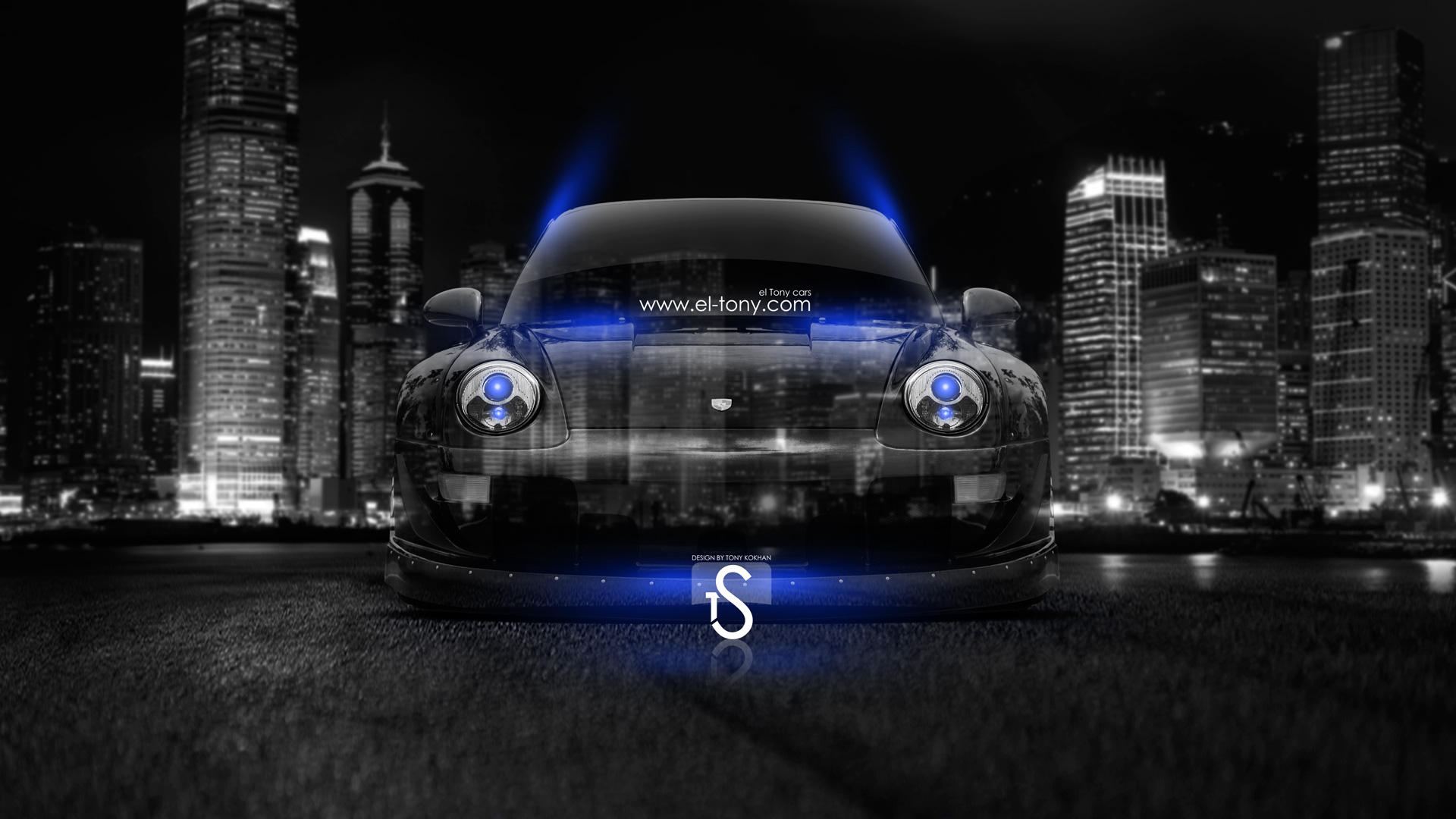 Porsche Crystal City Car 2014 Blue Neon HD