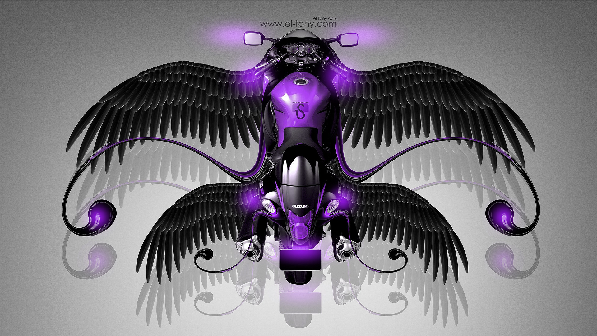 Wonderful Suzuki Hayabusa Fantasy Moto Fly 2014 Violet Neon