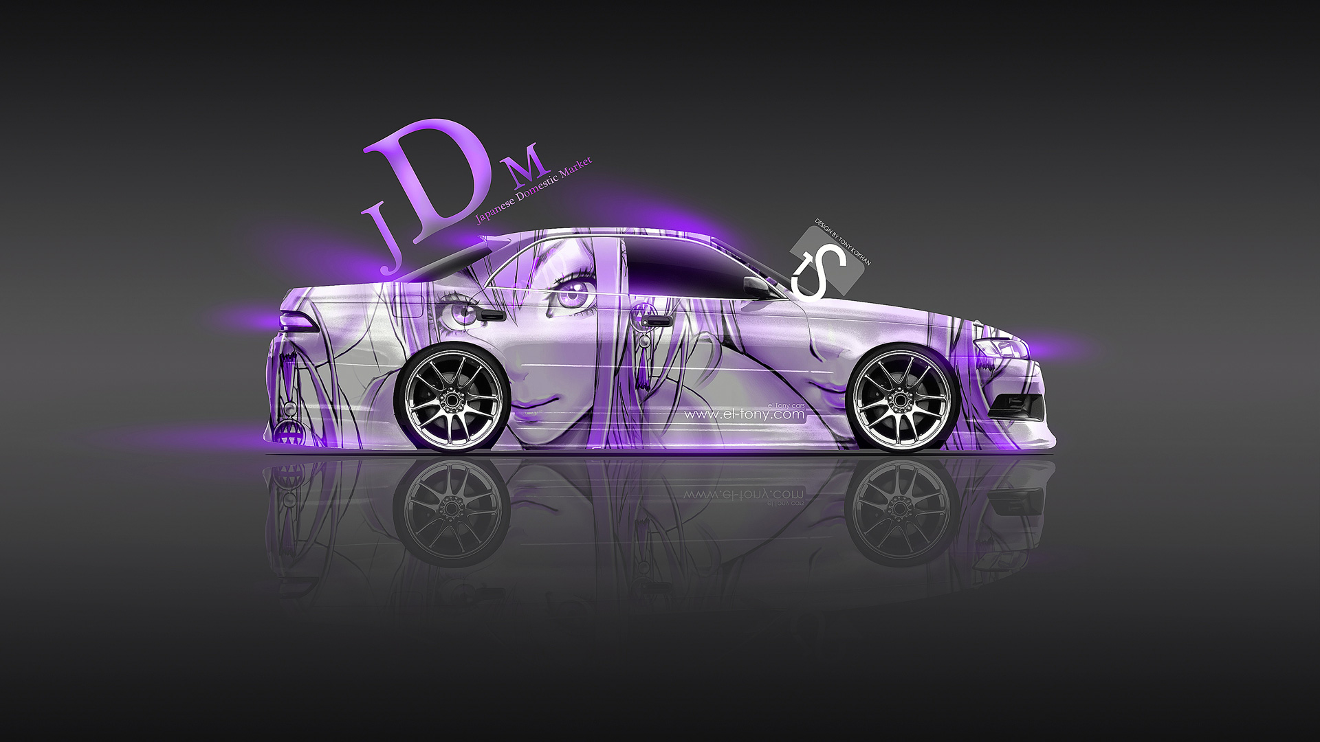 Toyota Mark 2 JZX90 JDM Violet Aerography Girl