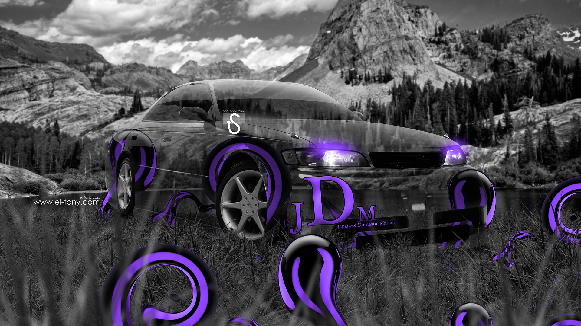 Toyota Mark2 JZX90 JDM Violet Effects Crystal Nature .