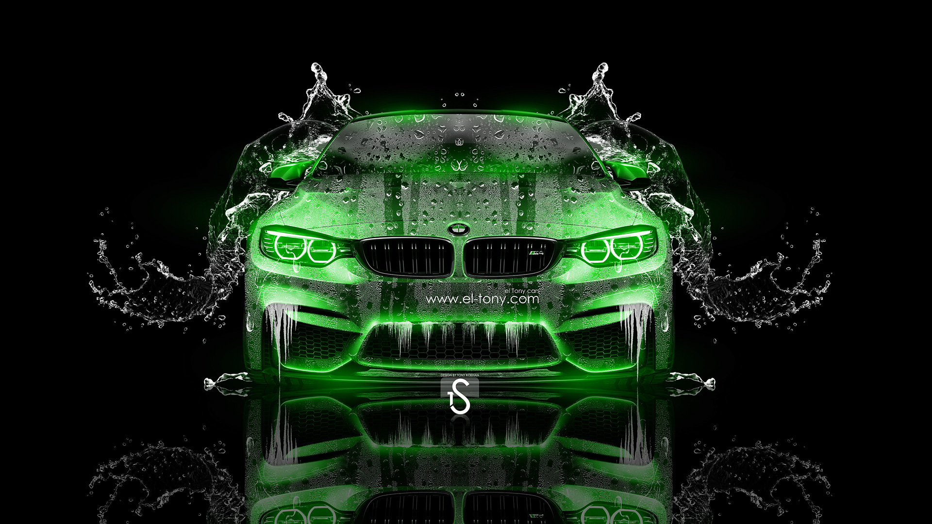 BMW M4 Green Neon Water Car 2014 HD