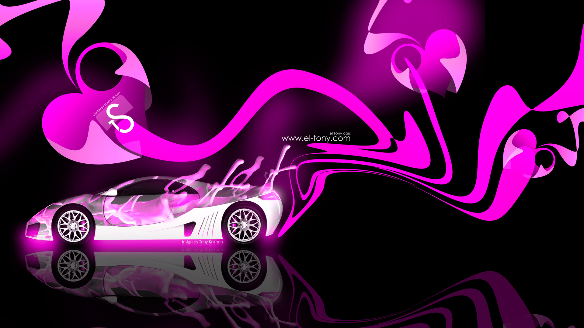 Great Bon Bubble Gum Abstract Car 2014 Pink Neon Colors