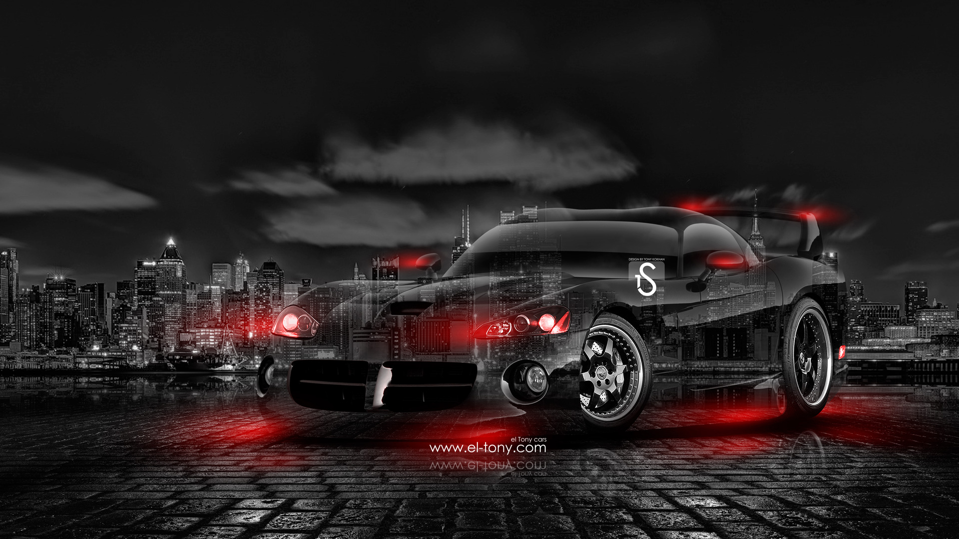Neon Muscle Car Drift Wallpaper Hd