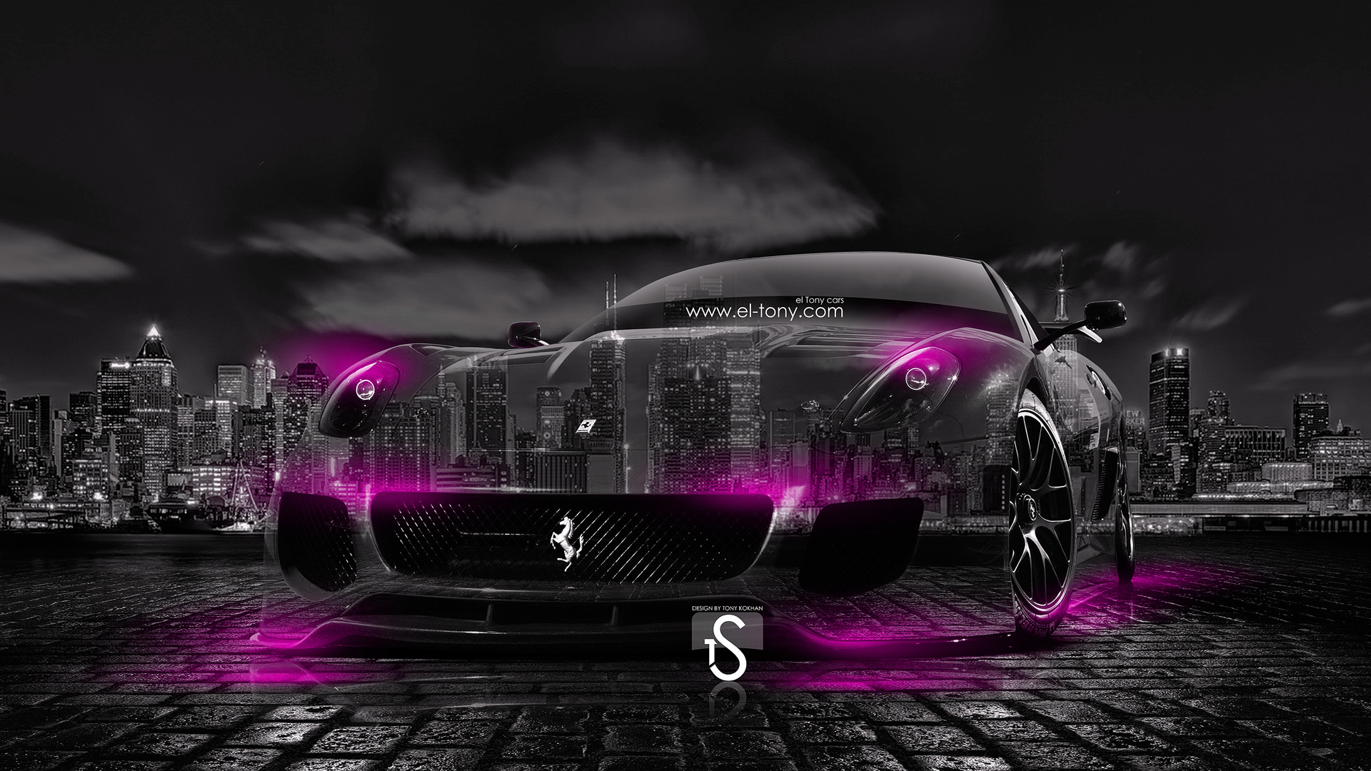 Ferrari-599-Crystal-City-Car-2014-Pink-Neon-design-by-Tony-Kokhan-[www.el-tony.com]