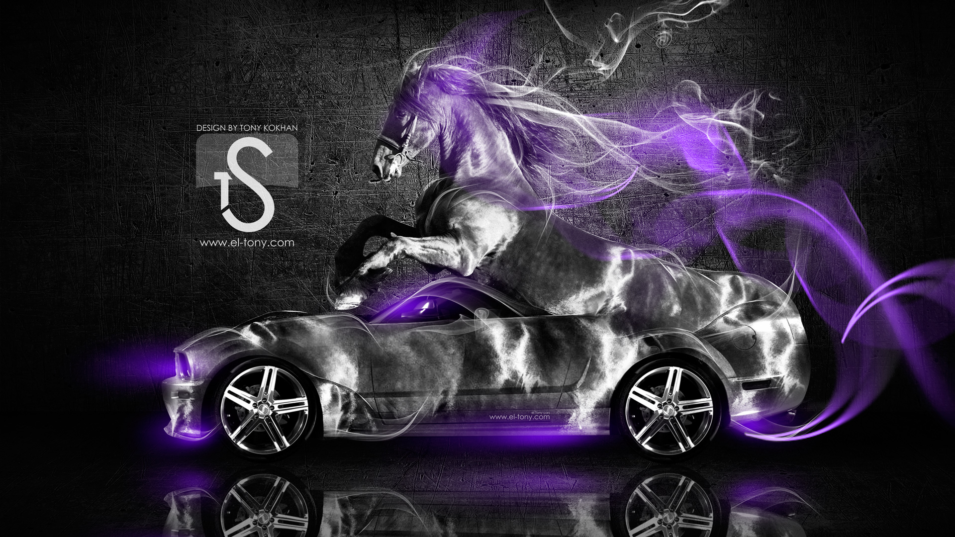ford mustang gt fantasy horse smoke car 2014 - Mustang 2014 Purple