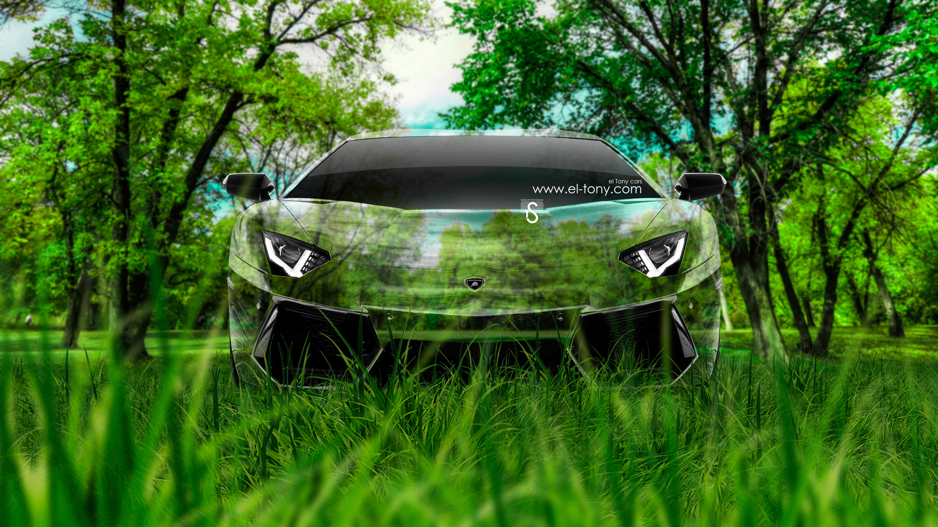 Lamborghini Aventador Front Crystal Nature Car 2014
