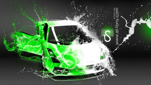Lamborghini-Gallardo-Milk-Green-Neon-Juice-Car-2014-HD-Wallpapers-design-by-Tony-Kokhan-[www.el-tony.com]