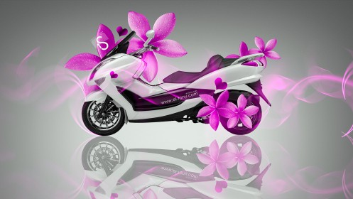 Mini-Moto-Pink-Flowers-Bike-2014-HD-Wallpapers-design-by-Tony-Kokhan-[www.el-tony.com]