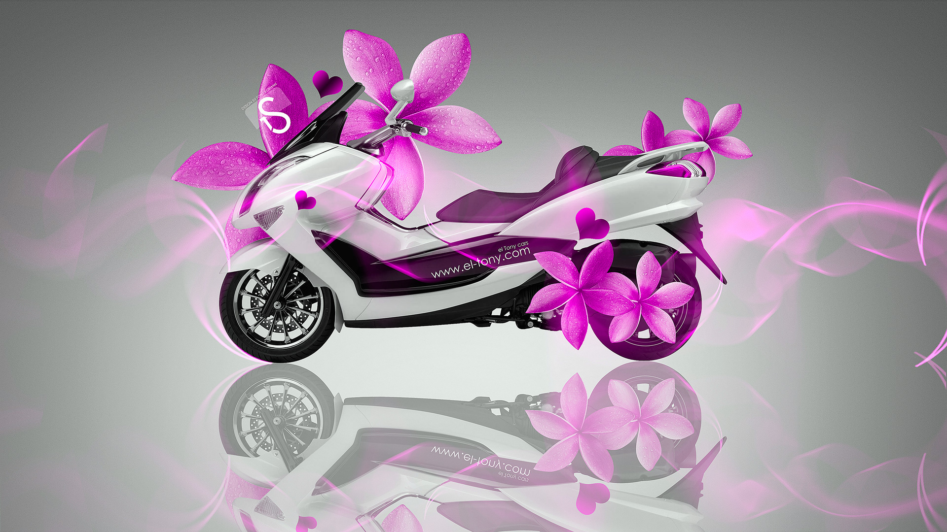 Merveilleux Mini Moto Pink Flowers Bike 2014 HD Wallpapers