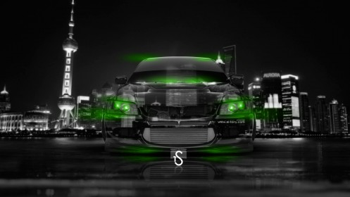 Mitsubishi-Lancer-Evolution-Front-Crystal-City-Car-2014-Green-Neon-by-Tony-Kokhan-[www.el-tony.com]