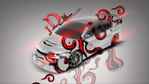 Mitsubishi-Lancer-Evoluton-JDM-Effects-Orange-Neon-Car-2014-design-by-Tony-Kokhan-[www.el-tony.com]