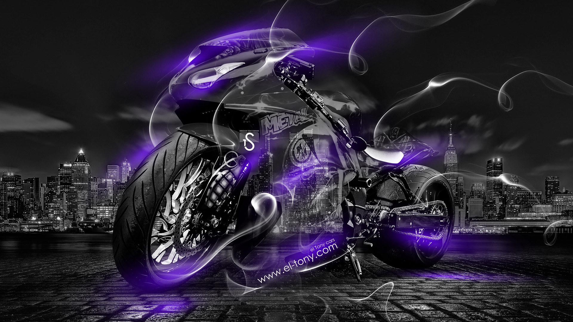 "Violet Smoke Art Wallpapers: ""Moto-Crystal-City-Violet-Smoke-Bike-2014-HD-Wallpapers"