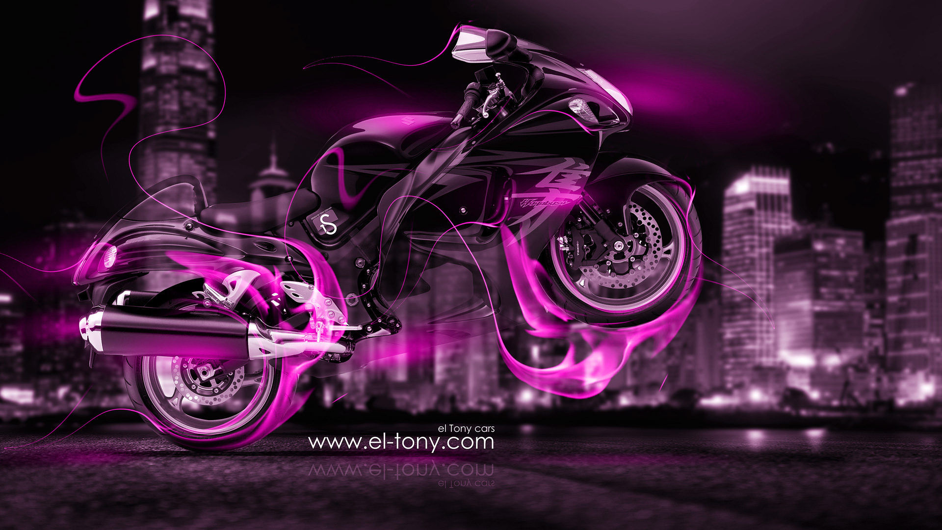 Moto Suzuki Hayabusa Pink Fire Crystal City Bike
