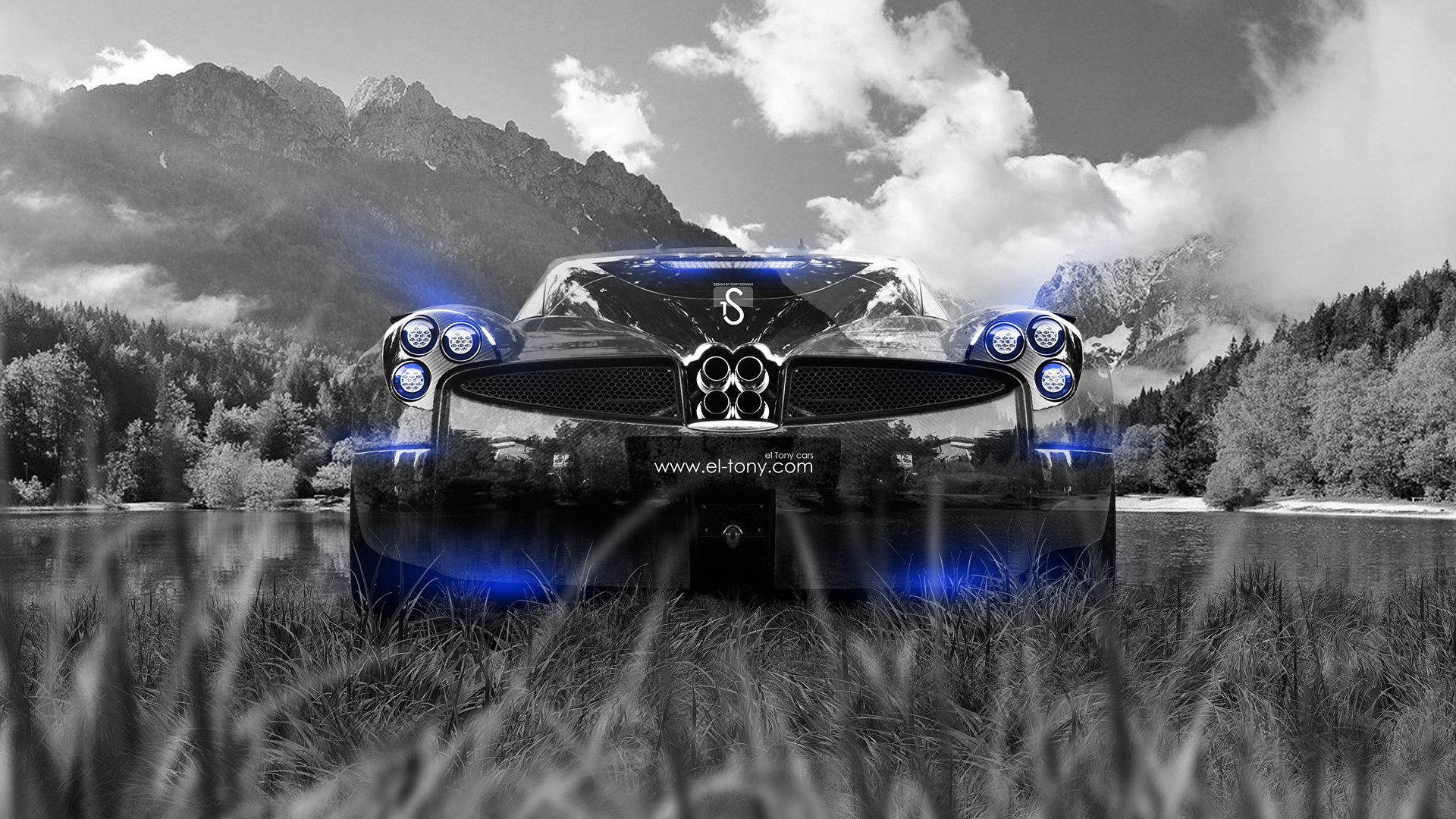 High Quality Pagani Huayra Crystal Nature Car 2014 Blue Neon  ...