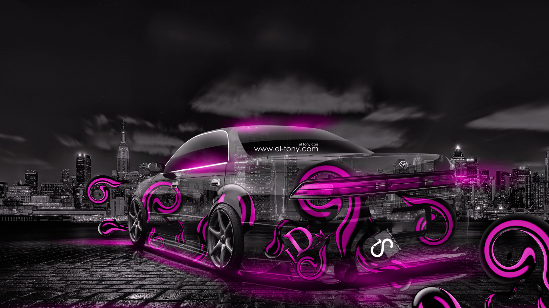 Gentil Toyota Mark2 JZX90 JDM Effects Pink Crystal City