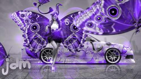 Toyota-Mark2-JZX90-JDM-With-Fantasy-City-Violet-Butterfly-Girl-2014-design-by-Tony-Kokhan-[www.el-tony.com]