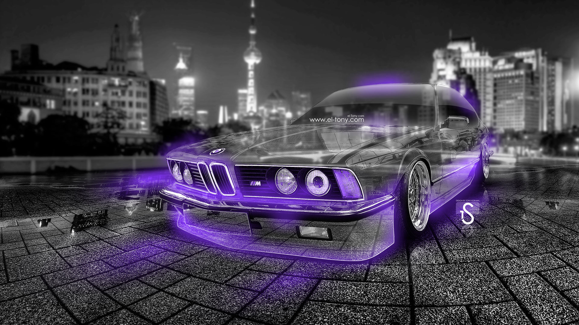 Gentil BMW Retro Crystal City Car 2014 Violet Neon
