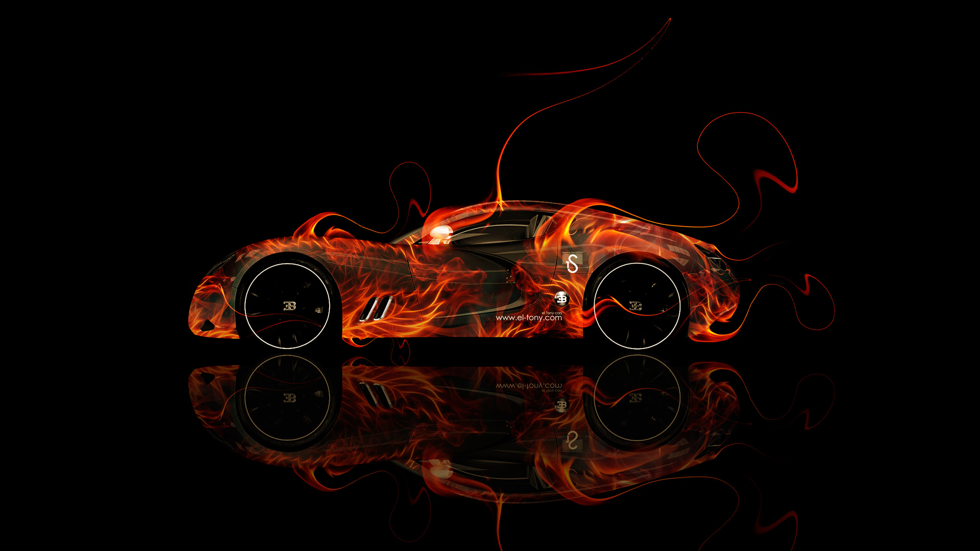 Bugatti Gangloff Fire Abstract Car 2014 HD Wallpapers