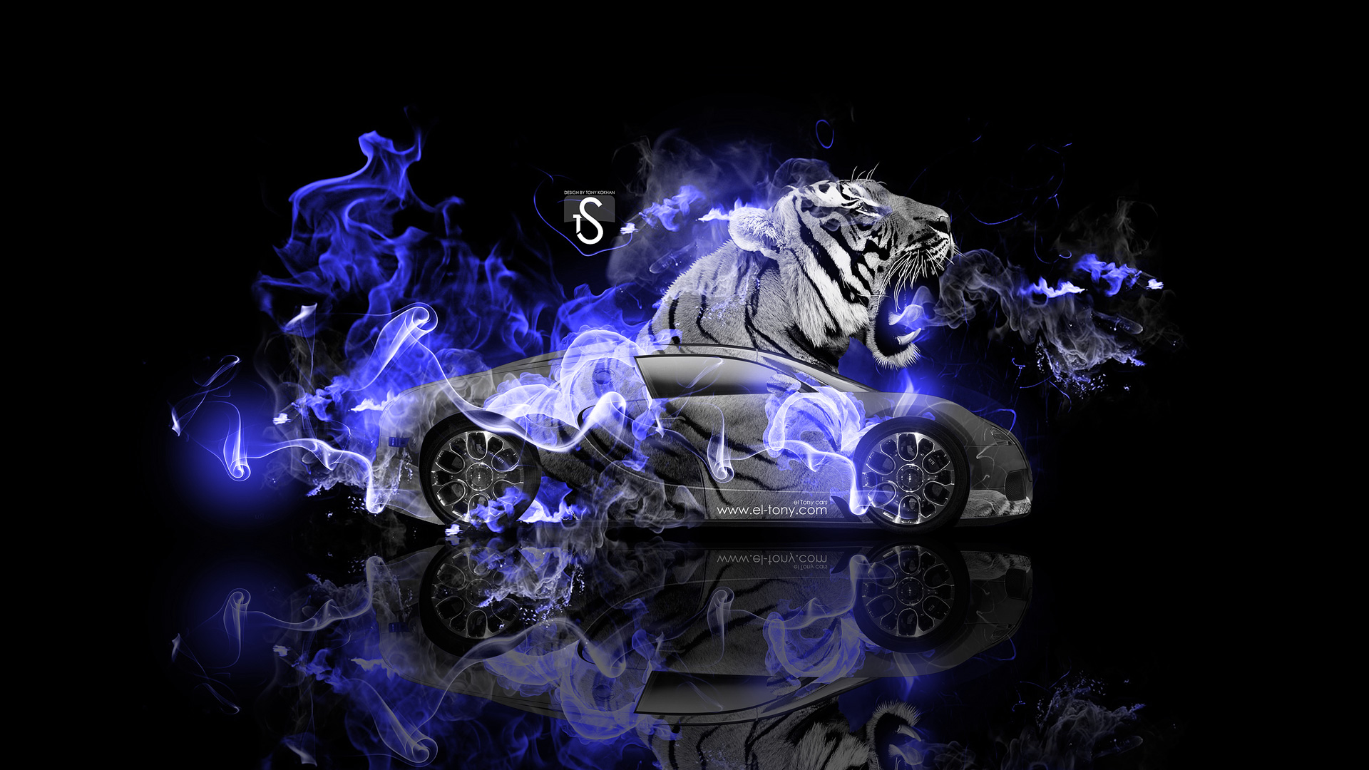Exceptionnel Bugatti Veyron Fantasy Tiger Blue Fire Car 2014