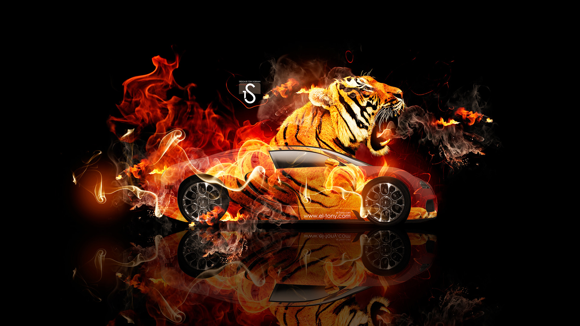 Superb Bugatti Veyron Fantasy Tiger Fire Car 2014 HD  ...