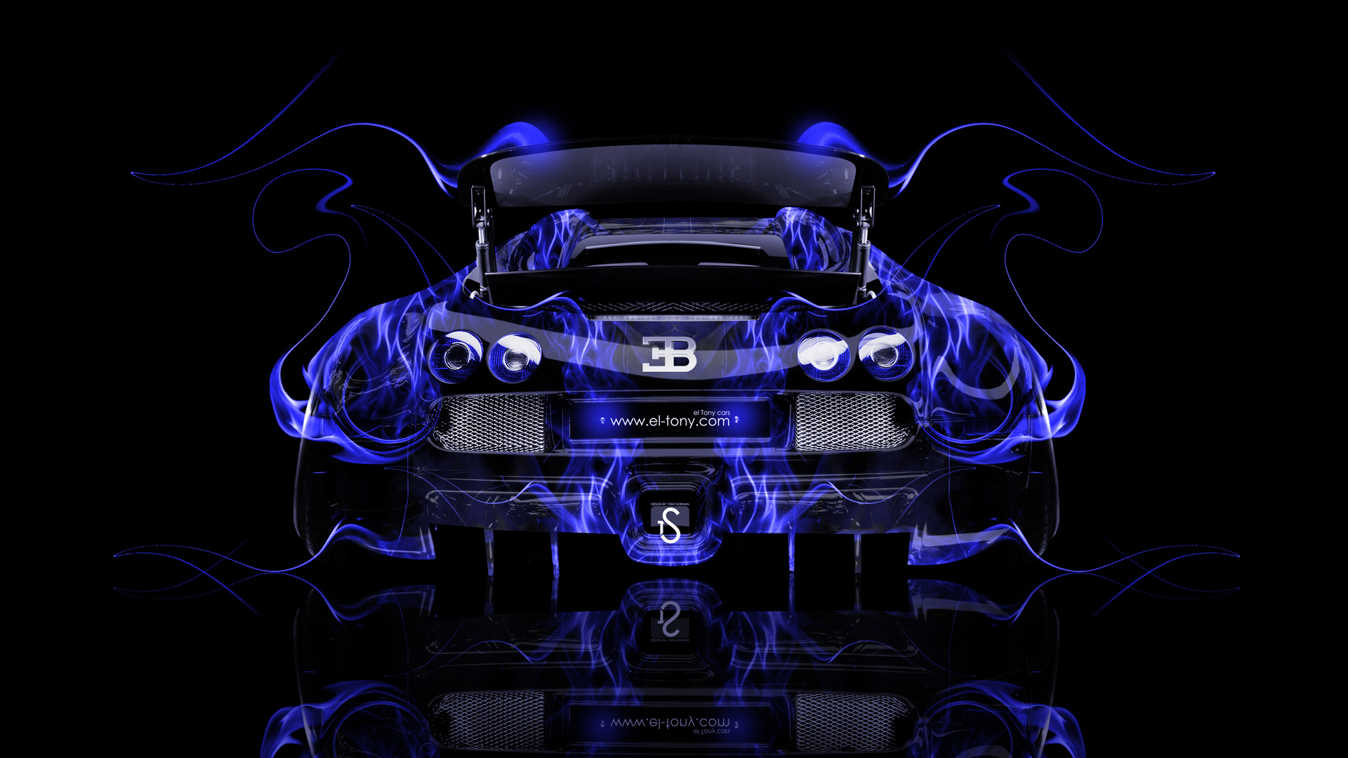 ... Bugatti Veyron Tuning Back Blue Fire Car 2014  ...