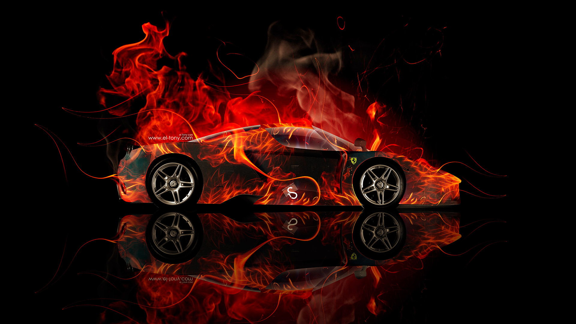 ... Ferrari Enzo Side Fire Abstract Car 2014
