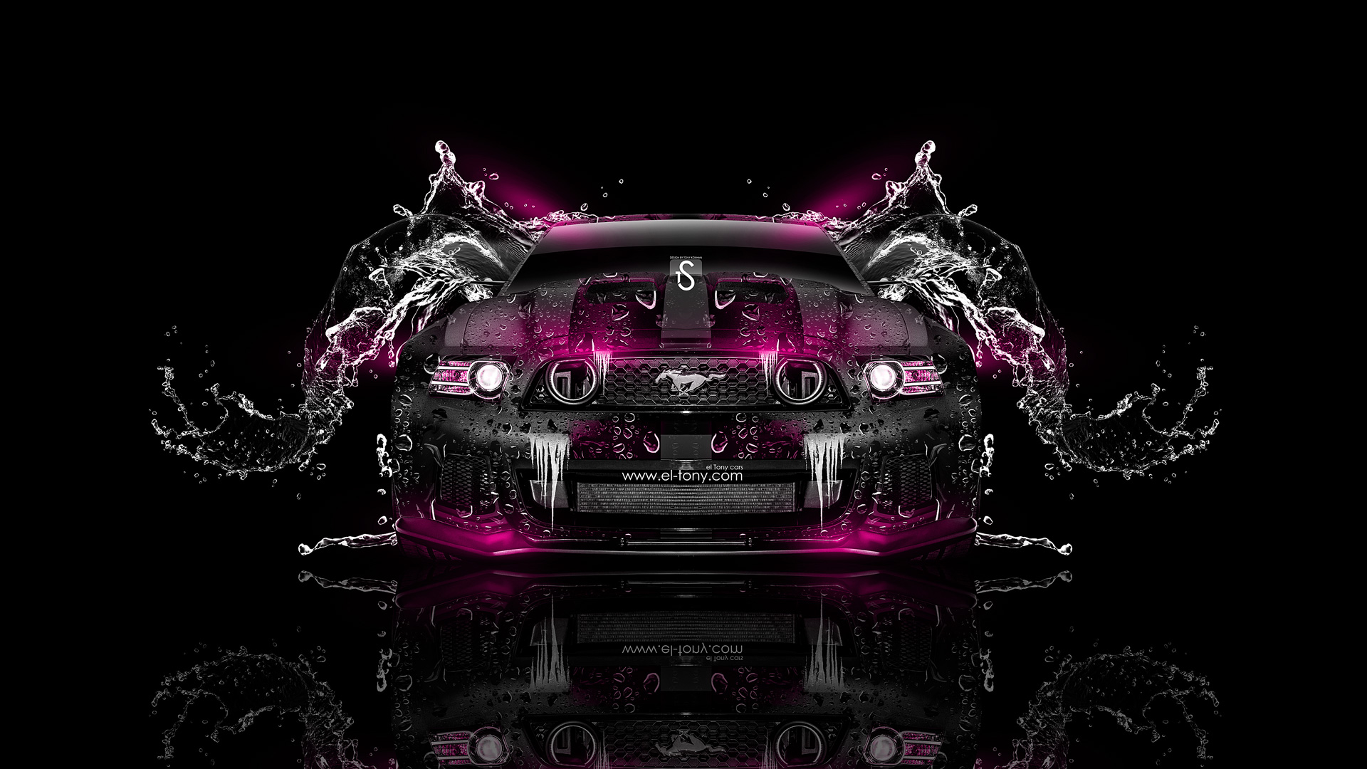 Ford Mustang GT Water Car 2014 Pink Neon .
