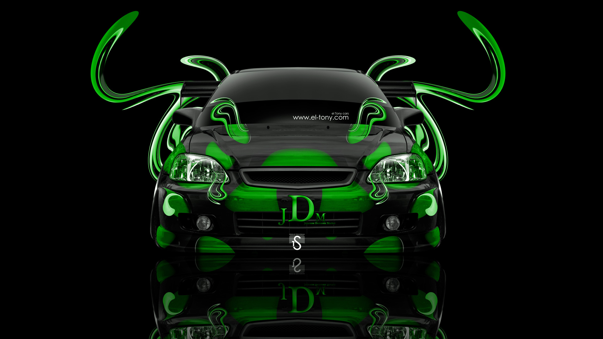 Awesome Honda Civic Tuning JDM Front Green Plastic Car