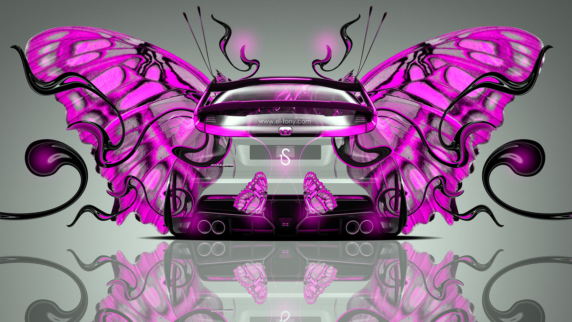 Awesome Ordinaire Honda Civic Type R Back Fantasy Butterfly Car