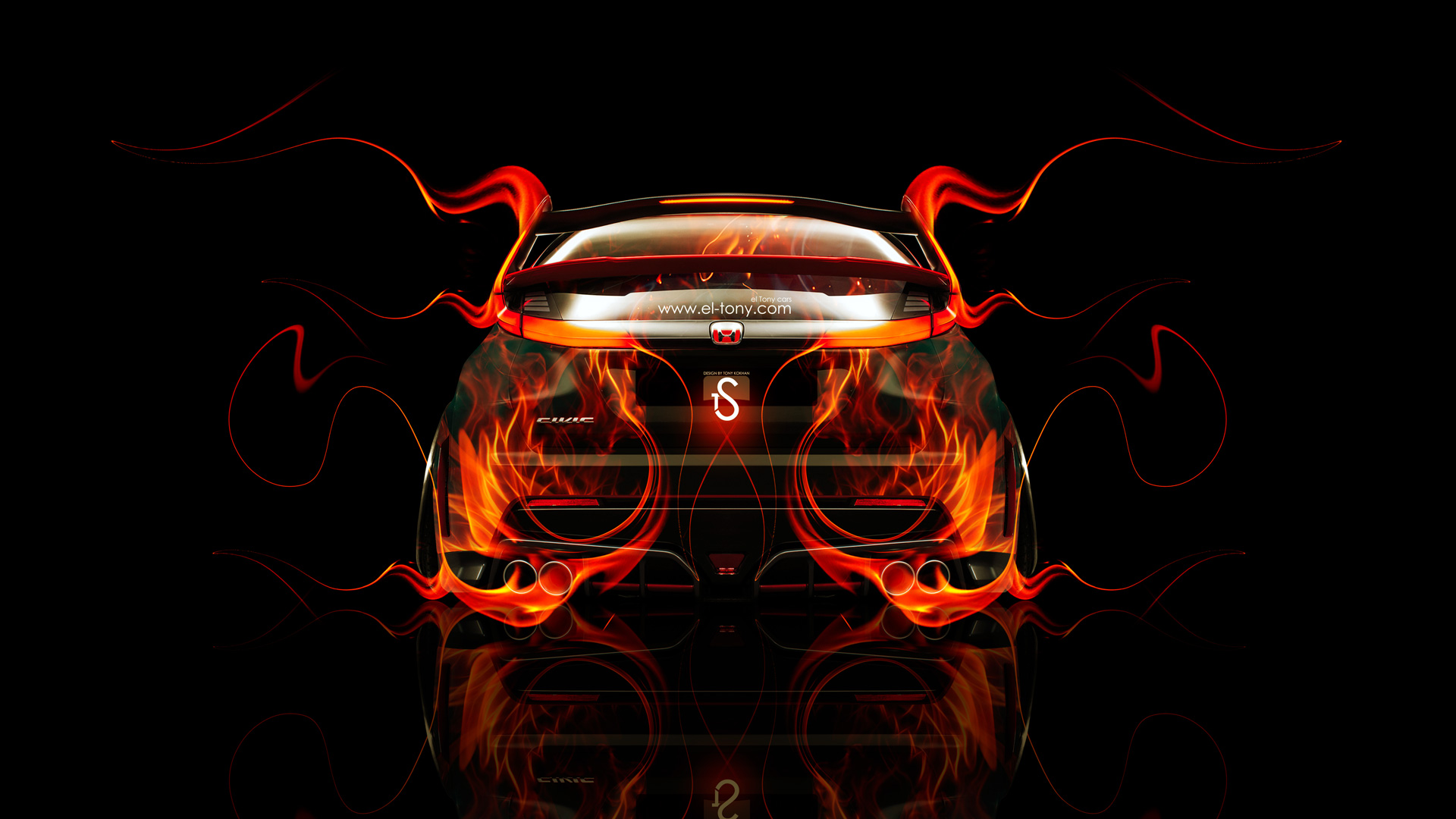 Honda Civic Type R Back Fire Abstract Car 2014 El Tony