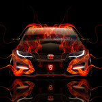 Honda Civic Type-R Front Fire Car 2014