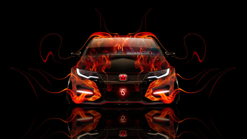 Honda-Civic-Type-R-Front-Fire-Car-2014-HD-Wallpapers-design-by-Tony-Kokhan-[www.el-tony.com]