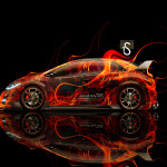 Honda Civic Type-R Side Fire Abstract Car 2014