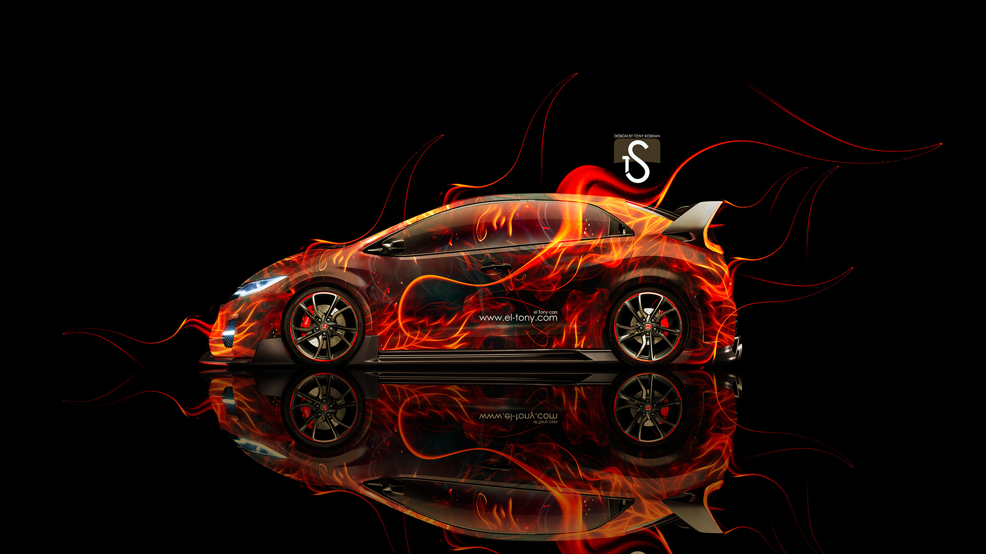 Superbe Honda Civic Type R Side Fire Abstract Car