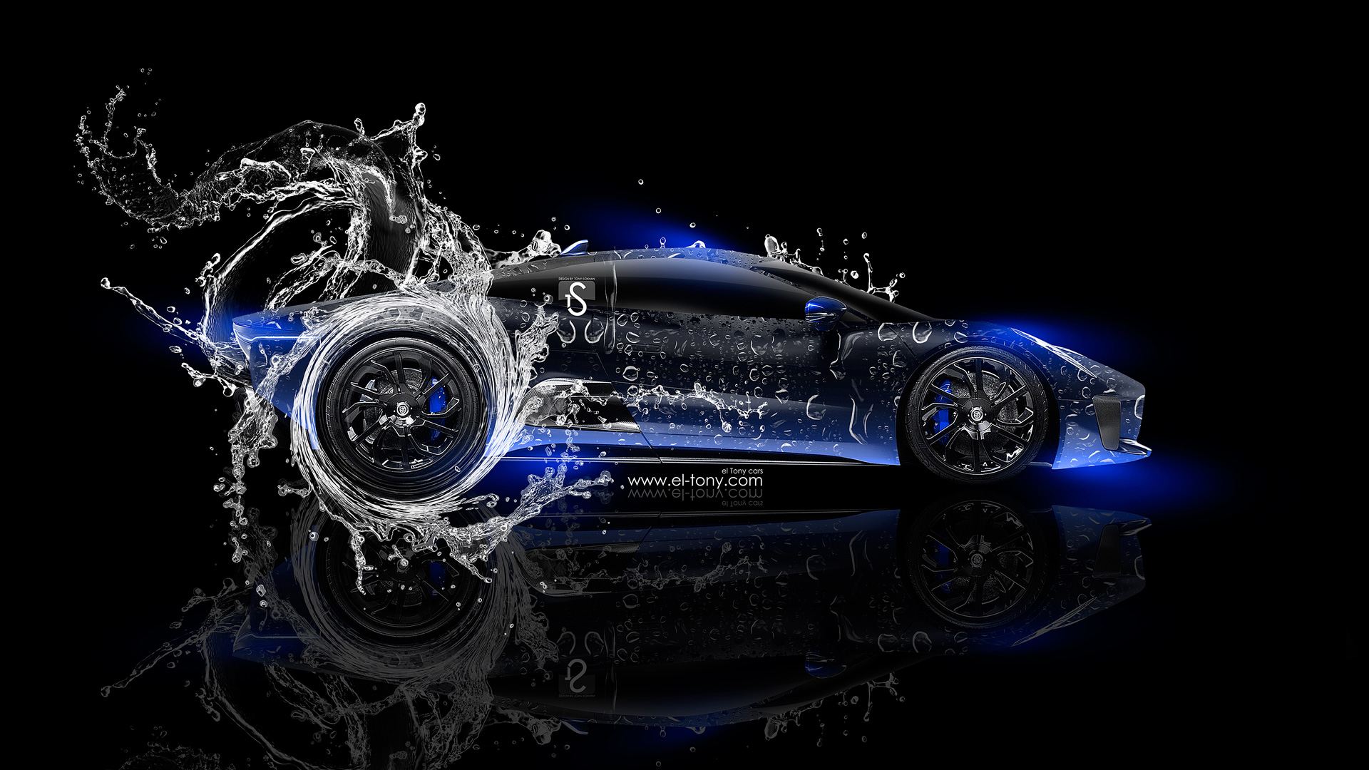 ... Jaguar CX 75 Side Water Car 2014 Blue  ...