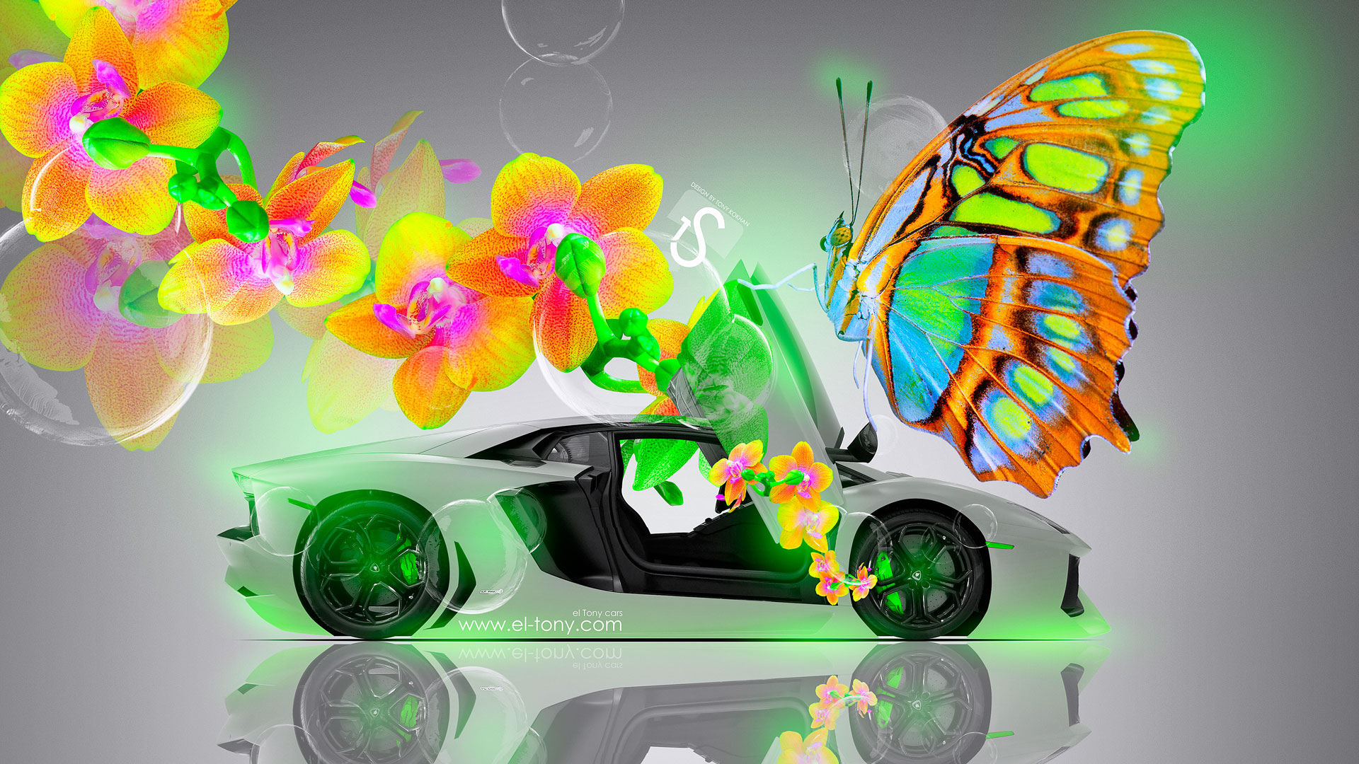 Superbe Lamborghini Aventador Open Doors Fantasy Flowers Butterfly Car