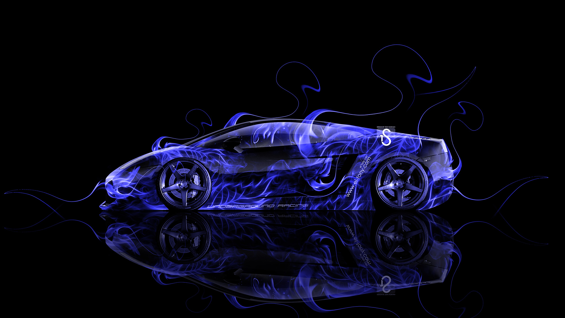 lamborghini gallardo side blue fire abstract car 2014 - Lamborghini Gallardo Wallpaper Blue