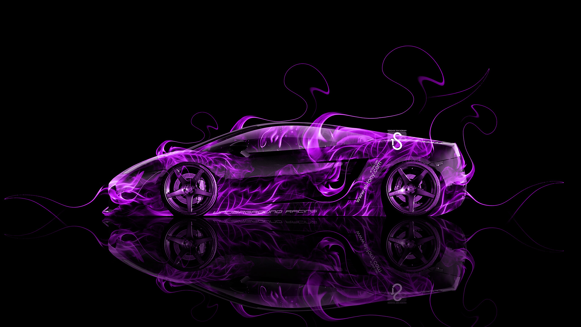 Superb ... Lamborghini Gallardo Side Violet Fire Abstract Car 2014