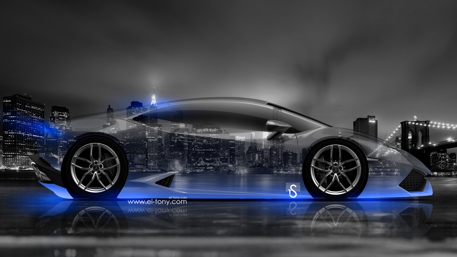 Lamborghini Huracan Side Crystal City Car 2014 Blue