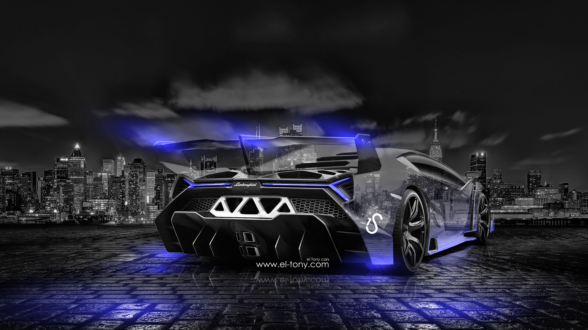 Awesome Lamborghini Veneno Crystal City Car 2014 Blue Neon