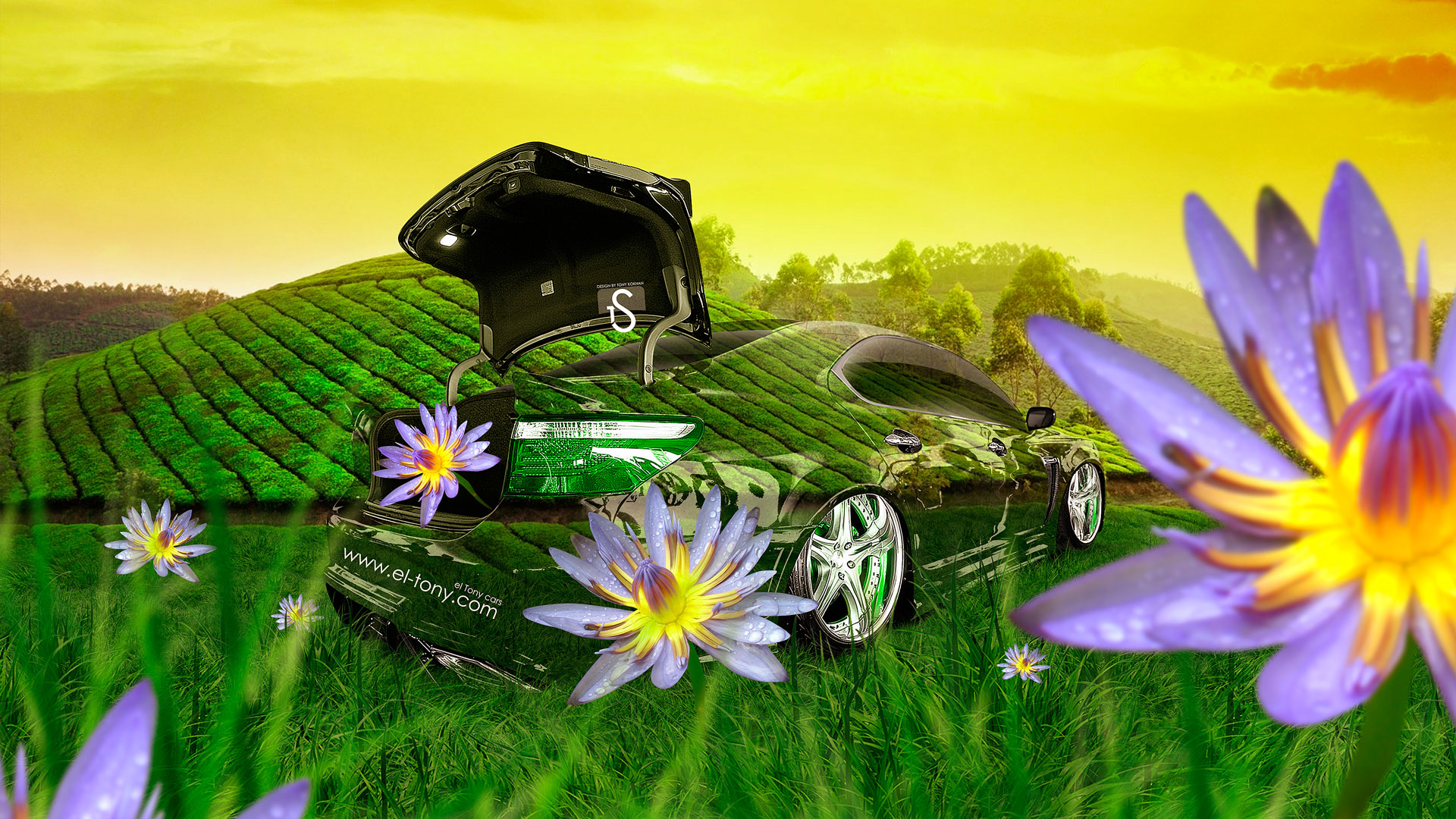 Lexus-LS460-Crystal-Nature-Flowers-Car-2014-design-by-Tony-Kokhan-[www.el-tony.com]