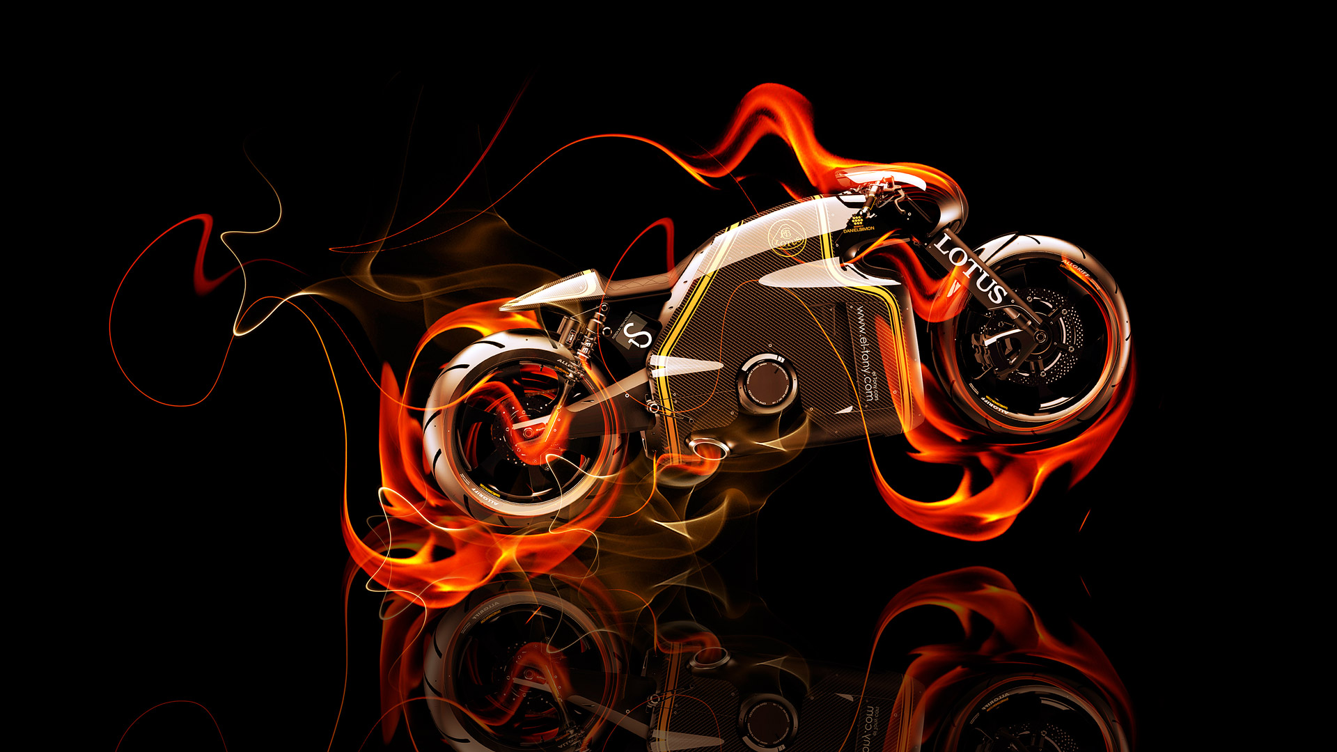 Exceptional Lotus C 01 Fire Abstract Bike 2014 HD