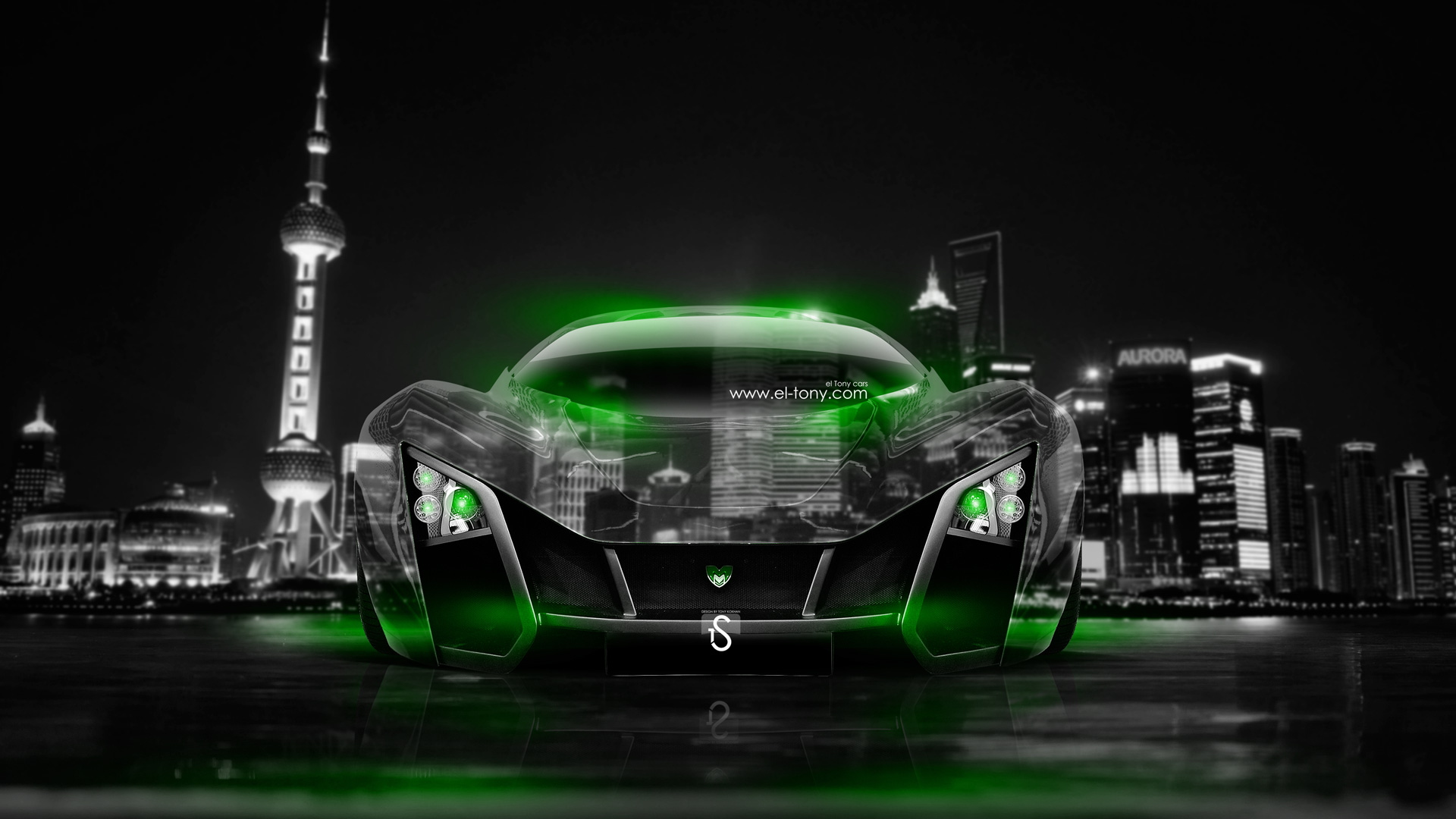 Marussia Russian Crystal City Car 2014 Green Neon