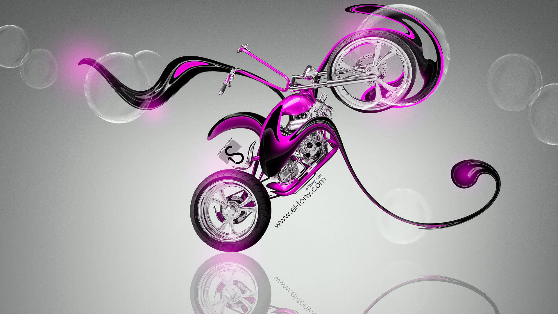 Elegant Mini Chopper Fantasy Plastic Bike 2014 Pink Neon