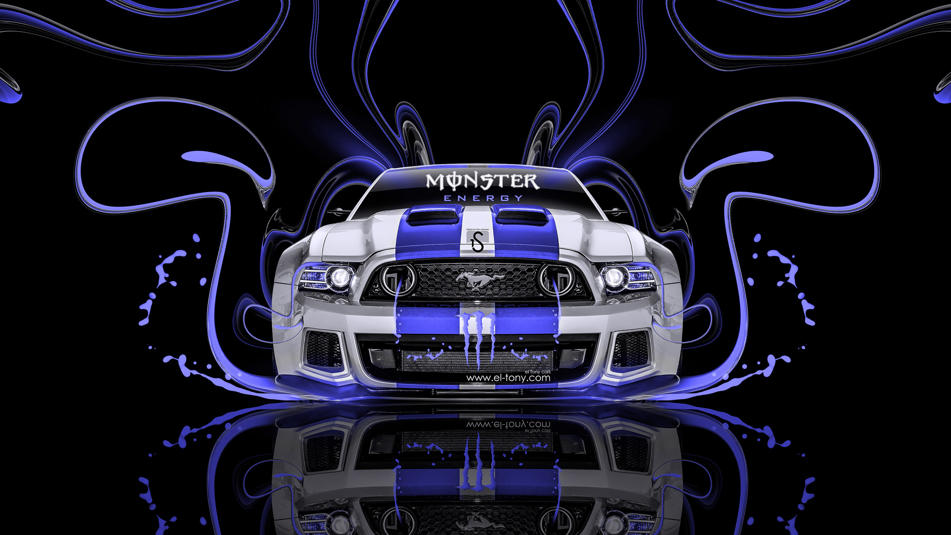 Merveilleux ... Monster Energy Ford Mustang GT Blue Neon Plastic  ...