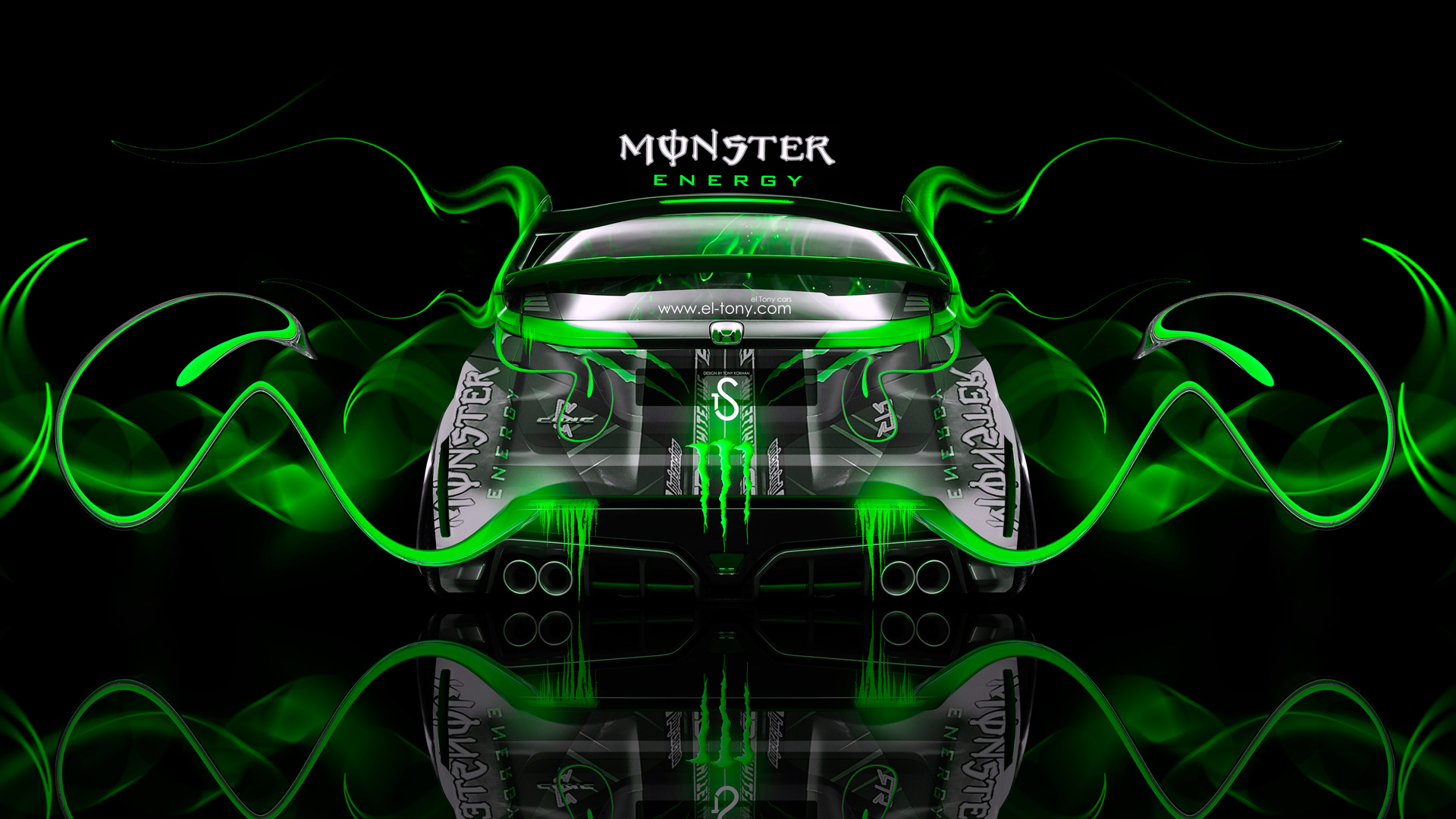 Attractive Monster Energy Honda Civic Type R Green Plastic